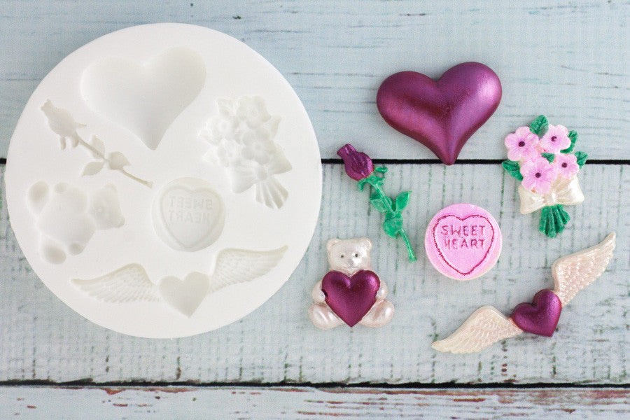 Valentine Love Themed Silicone Mould - Ellam Sugarcraft Moulds For Fondant Or Chocolate
