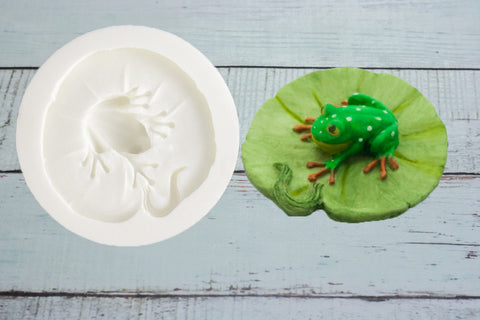 3d  Frog on a Lilypad  Silicone Mould - Ellam Sugarcraft Moulds For Fondant Or Chocolate