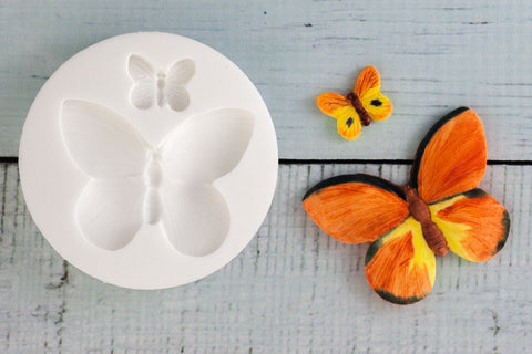 2 Butterflies, Large  Butterfly 50mm, small 15mm Silicone Mould - Ellam Sugarcraft Moulds For Fondant Or Chocolate