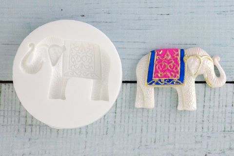Decorative Elephant Silicone Mould - Ellam Sugarcraft Moulds For Fondant Or Chocolate