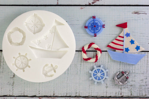 Nautical yacht compass anchor Silicone cupcake craft cake  Mould - Ellam Sugarcraft Moulds For Fondant Or Chocolate