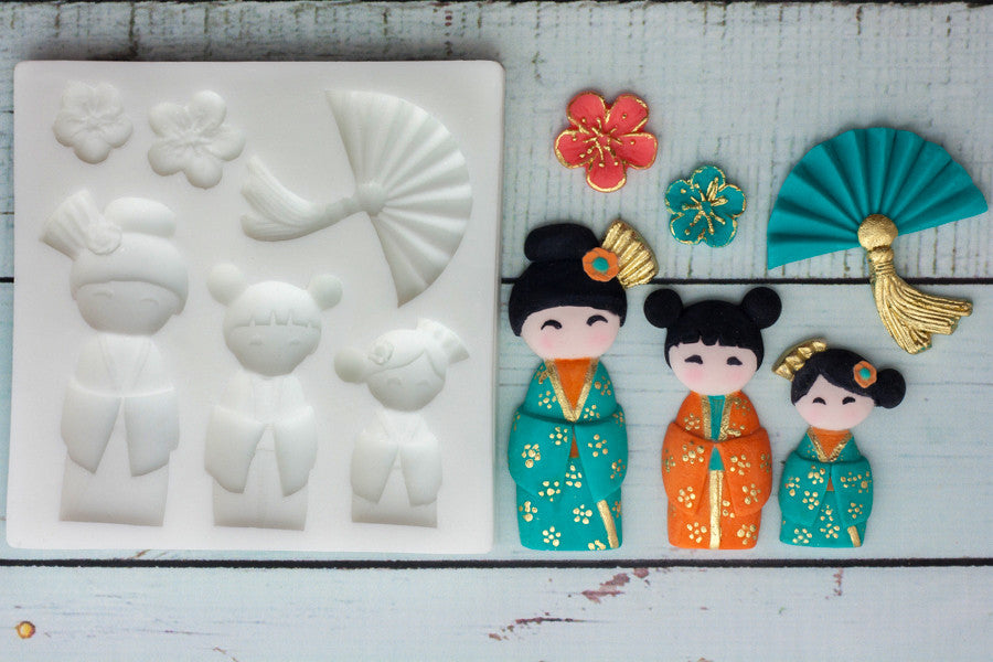 Oriental cupcake mold- Japanese Doll craft mold -  Silicone craft cake Mould - Ellam Sugarcraft Moulds For Fondant Or Chocolate