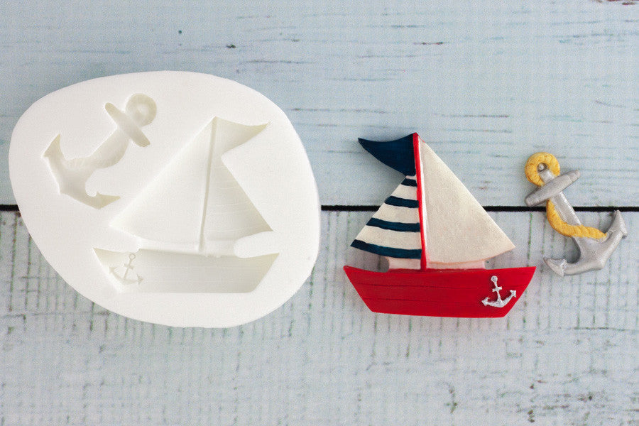 Nautical Yacht & Anchor Silicone Mould - Ellam Sugarcraft Moulds For Fondant Or Chocolate