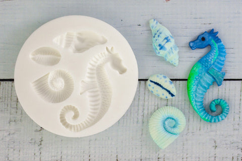 Seahorse & Sea Shells Silicone Mould - Ellam Sugarcraft cupcake cake craft  Moulds For Fondant Or Chocolate