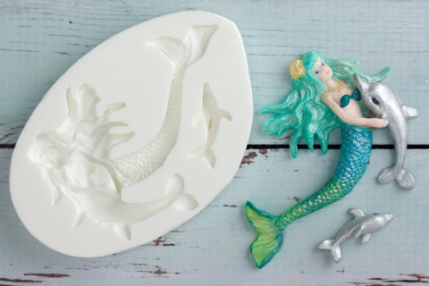 Mermaid & Dolphin Silicone Mould - Ellam Sugarcraft Moulds For Fondant Or Chocolate