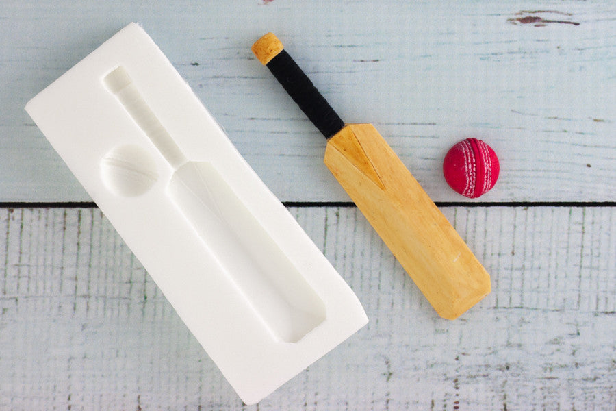 Cricket Bat & Ball Silicone cake cupcake craft Mould - Ellam Sugarcraft Moulds For Fondant Or Chocolate