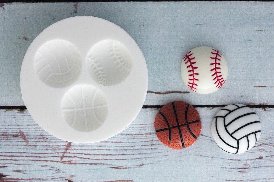 Soccer ball mold- Baseball, Basketball Silicone Mould - Ellam Sugarcraft cupcake cake craft Moulds For Fondant Or Chocolate