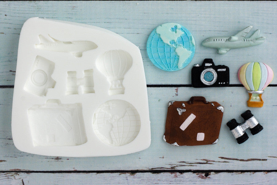 World Travel, Suitcase, Camera, Binoculars, Plane  Silicone Mould - Ellam Sugarcraft Moulds For Fondant Or Chocolate