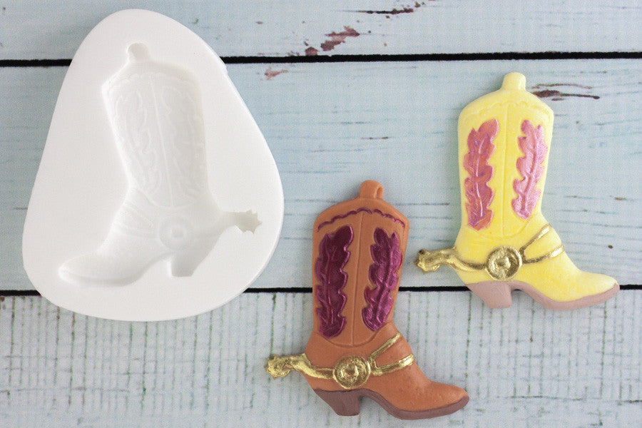 Western Cowboy Boot Silicone Mould - Ellam Sugarcraft Moulds For Fondant Or Chocolate