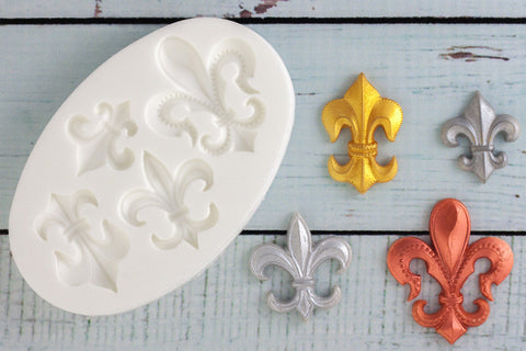 Fleur de Lis Motifs Silicone cupcake Mould - Ellam Sugarcraft cake craft Moulds For Fondant Or Chocolate