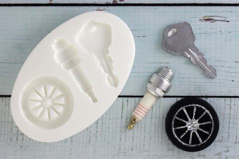 Car Alloy Wheel, Spark Plug & Key Silicone Mould - Ellam Sugarcraft Moulds For Fondant Or Chocolate
