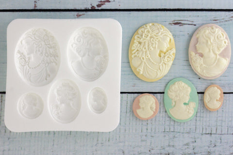 Ladies Cameos Silicone Mould - ellamsugarcraft
