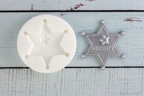 Sheriff Badge  Mould - cowboy mold - Ellam Sugarcraft cupcake cake craft Moulds For Fondant Or Chocolate