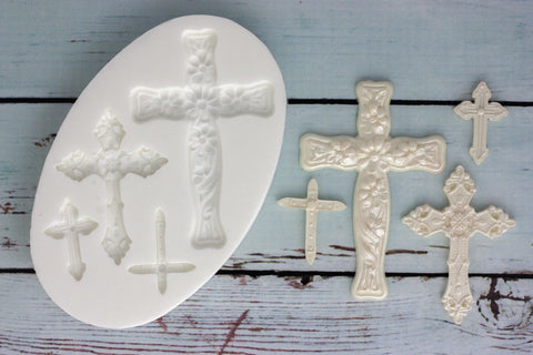 Christening, Communion Crosses Silicone Mould - ellamsugarcraft - 1