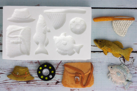 Fishing Mold, Angling Silicone cupcake Mould - Ellam Sugarcraft craft cake Moulds For Fondant Or Chocolate