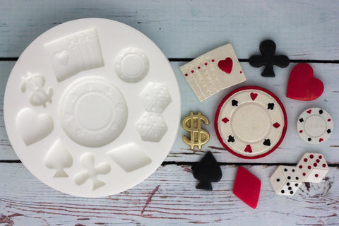 Casino Poker Chips, Vegas, Card Suits Silicone Mould - Ellam Sugarcraft Moulds For Fondant Or Chocolate