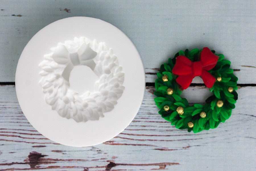 Christmas Wreath with Bow Silicone Mould - Ellam Sugarcraft cupcake cake craft Moulds For Fondant Or Chocolate