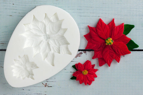Christmas Poinsettia Flowers Silicone Mould - Ellam Sugarcraft Moulds For Fondant Or Chocolate