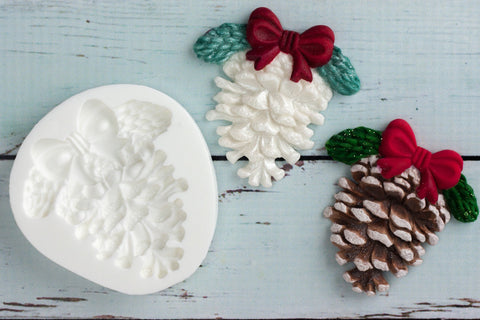 Christmas Fir cone/ pine cone with bow Silicone Mould - ellamsugarcraft