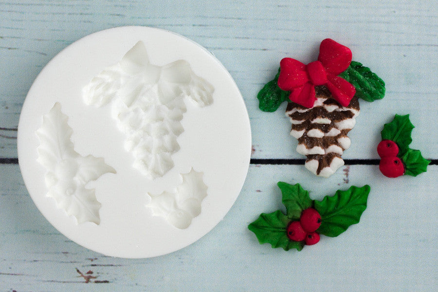 Christmas Fircone  Holly Silicone cupcake cake craft Mould - Ellam Sugarcraft Moulds For Fondant Or Chocolate clay or resin