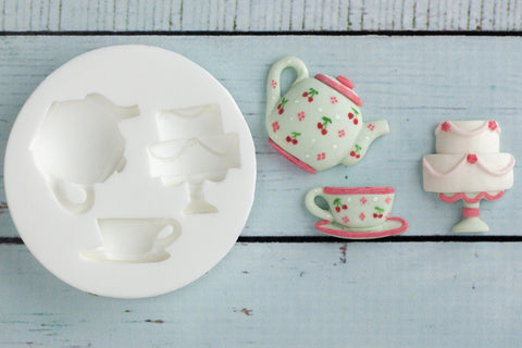 Teapot & Cake Silicone Mould - Ellam Sugarcraft Moulds For Fondant Or Chocolate