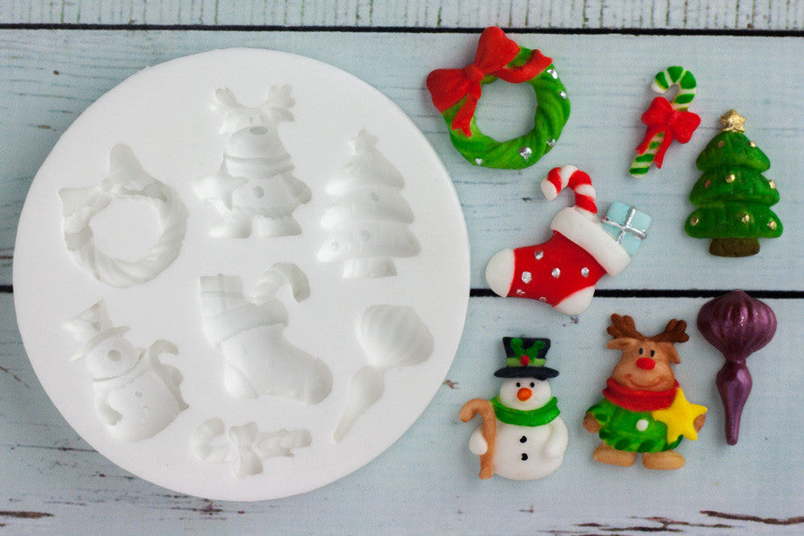 Christmas tree wreath reindeer snowman stocking  Silicone cupcake craft Mould - Ellam Sugarcraft Moulds For Fondant Or Chocolate