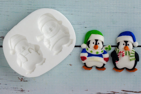Christmas Holiday Penguins 1 Silicone Mould - Ellam Sugarcraft Moulds For Fondant Or Chocolate