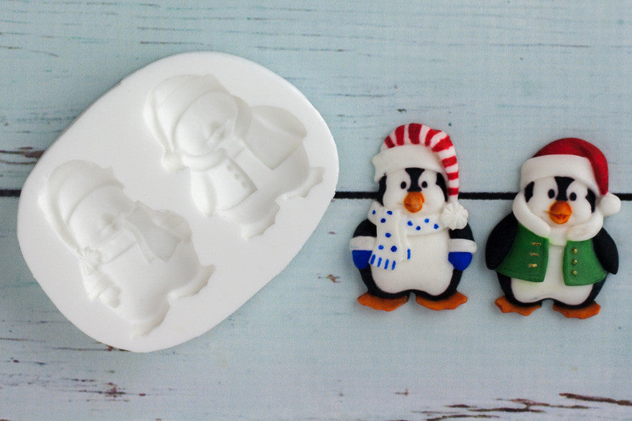 Christmas Holiday Penguins 2 Silicone Mould - Ellam Sugarcraft Moulds For Fondant Or Chocolate