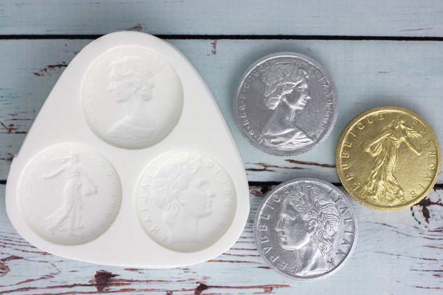 Pirate Treasure Coins mould - coins mold - Franc, Lira & Sterling Silicone craft Mould - Ellam Sugarcraft Moulds For Fondant Or Chocolate