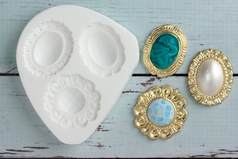 Vintage Style Wedding Brooches Silicone Mould - Ellam Sugarcraft Moulds For Fondant Or Chocolate