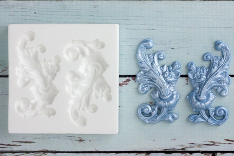 Left & Right Decorative Flourish Scrolls Silicone Mould - Ellam Sugarcraft cupcake cake craft Moulds For Fondant Or Chocolate