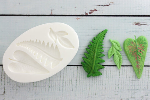 Jungle leaf mould- tropical leaf Silicone Mould-fern leaf mould- Ellam Sugarcraft Moulds For Fondant Or Chocolate