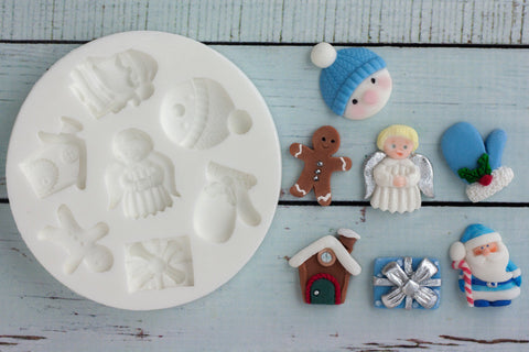 Christmas angel gingerbread mitten santa Silicone cake cupcake craft mold  Mould - Ellam Sugarcraft Moulds For Fondant Or Chocolate resin or clay