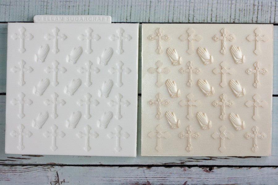 Crosses & Praying hands Cupcake Texture Mat Silicone Mould - Ellam Sugarcraft Moulds For Fondant Or Chocolate