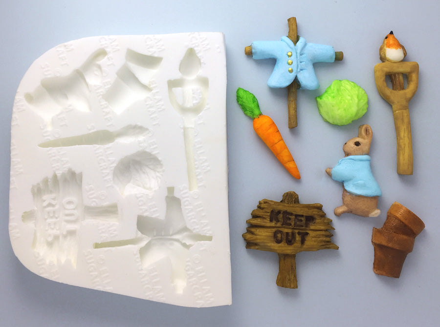 Beatrix Potter Inspired Peter Rabbit Style Garden Silicone cupcake  cake craft Mould - Ellam Sugarcraft Moulds For Fondant Or Chocolate