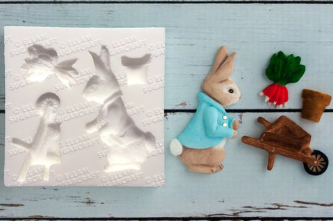 Beatrix Potter Inspired Peter Rabbit Style Wheelbarrow Bunny cupcake cake craft  Silicone Mould - Ellam Sugarcraft Moulds For Fondant Or Chocolate