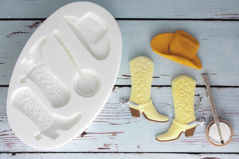 Cowboy Hat, Boots & Banjo Silicone Mould - Ellam Sugarcraft Moulds For Fondant Or Chocolate
