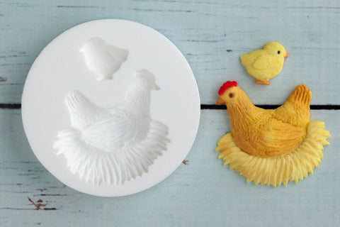 Mother Hen, Chicken with Chick Silicone Mould - ellamsugarcraft