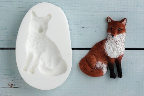 Woodland Fox Sitting Silicone Mould - Ellam Sugarcraft Moulds For Fondant Or Chocolate