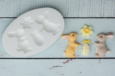 Easter Bunny Rabbits Silicone Mould - Ellam Sugarcraft Moulds For Fondant Or Chocolate
