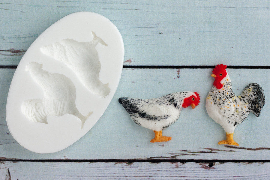 Rooster & Hen Silicone Mould - chicken mould - cockerel mould- Ellam Sugarcraft cupcake cake craft  Moulds For Fondant Or Chocolate