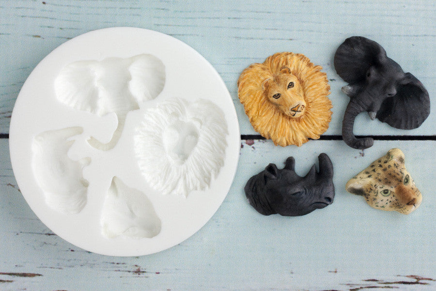 Zoo Animals Silicone Mould - Ellam Sugarcraft Moulds For Fondant Or Chocolate