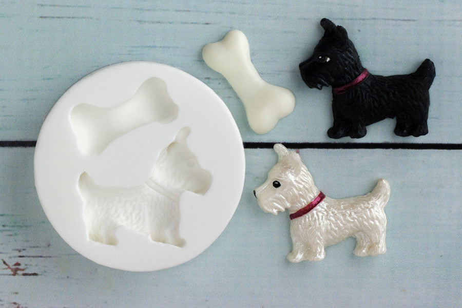 Scottie Dog Mould - dog mould- fondant dog-Ellam Sugarcraft cupcake cake craft Moulds For Fondant Or Chocolate