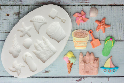 Seaside Beach Themed Silicone Mould - sand castle mold - beach party - Ellam Sugarcraft cupcake cake craft Moulds For Fondant Or Chocolate