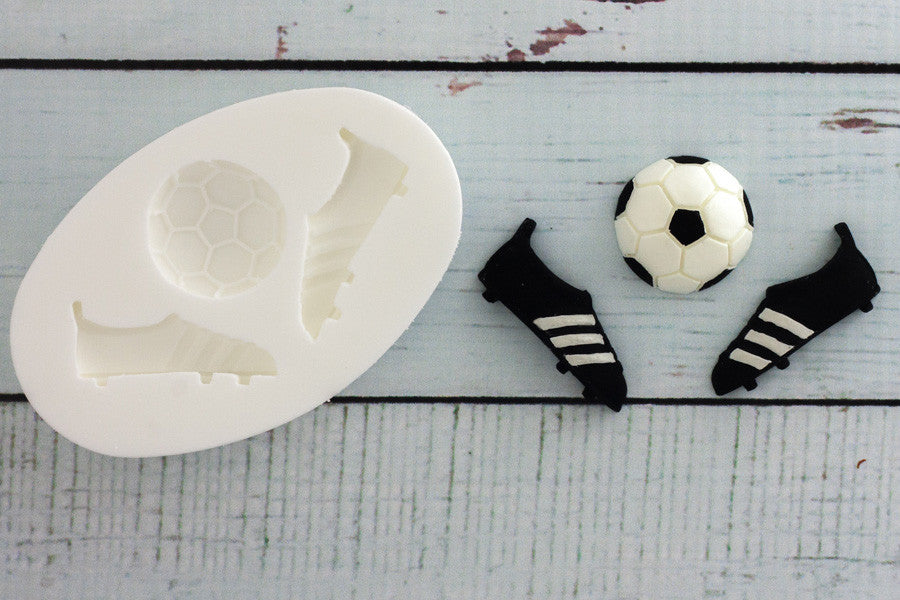 Football Boots & Ball Silicone Mould -soccer boot mold - Ellam Sugarcraft Moulds For Fondant Or Chocolate