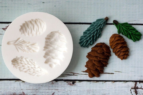 Christmas Fir cones/ Pinecone and Spruce Silicone cupcake cake craft Mould - Ellam Sugarcraft Moulds For Fondant Or Chocolate