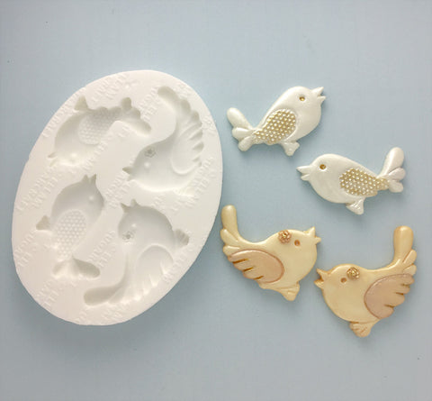 Whimsical Love Birds Silicone Mould - Ellam Sugarcraft Moulds For Fondant Or Chocolate