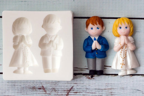 First Holy Communion mould- Praying Child Silicone  Mould - bonbonnier mold- Ellam Sugarcraft Moulds For Fondant Or Chocolate