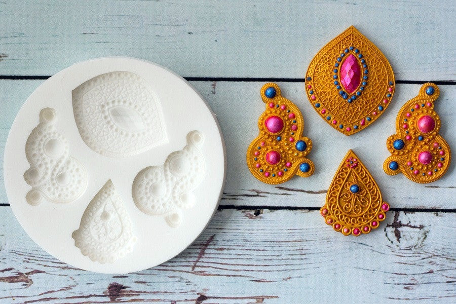 Hand Embellished Decorative Asian, Indian wedding Motifs Silicone Mould - Ellam Sugarcraft Moulds For Fondant Or Chocolate