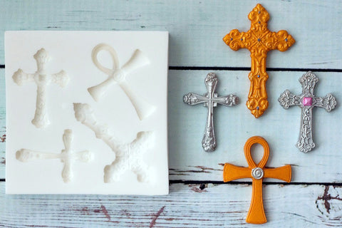 Crosses, Baptism, Communion, Christian, Silicone Mould - ellamsugarcraft